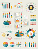 Flat infographic collection of charts, graphs, speech bubbles, schemes, diagrams. Trend color set. Chemistry, flask concept. — Stock Vector
