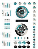 Infographic flat collection of charts, diagrams, schemes, circle modules, speech bubbles, graphs. — Stock Vector