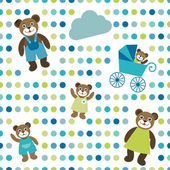 Colorful flat repeat wall paper polka dot with bear family design. — Vecteur
