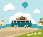 Retro bus. Summer trip concept. — Stock Vector