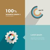Square flat infographic template. Modern minimalistic diagram design. — Stock Vector