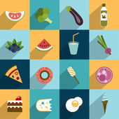Collection of diet and fat food. Fruit, vegetable, cakes, sweets set. — Stok Vektör