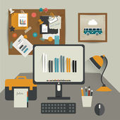 Work office table. Flat design vector illustration. Table with computer, folders, noticeboard, lamp. Modern simply illustration. Work pause concept. — Stock Vector