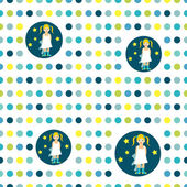 Colorful flat repeat wall paper polka dot. Girl good night idea. — Vettoriale Stock