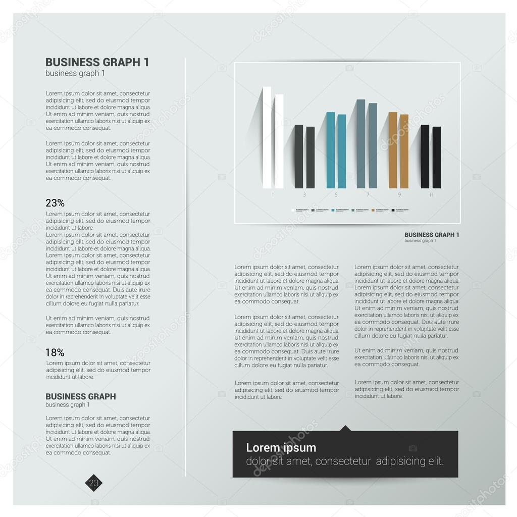Modern flat page layout with text and graph Web page or