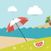 Summer sunny beach day. Vector illustration. — Stock Vector