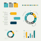 Infographics elements. Folder with diagrams, speech bubbles and chart. — Vector de stock