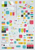 Collections of infographics flat design template. Various color schemes, boxes, speech bubbles, charts. Vector illustration. — Stock Vector