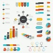 Set of infographic elements. Diagrams, speech bubbles, graphs, pie circle charts and icons. Vector shapes. — Vettoriale Stock  #50137591