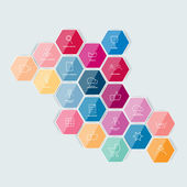 Set of lined icon. Hexagonal template. Vector. — Stock Vector