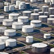 Aerial view of oil storage at a refinery — Stock Photo