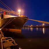 Night view of a cargo ship — Stock Photo