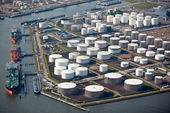 Oil terminal in a harbor — Stock Photo