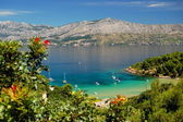 Lovrecina - sandy beach on Brac island, Croatia — Stock Photo