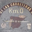 Kilometre zero sign in Madrid, Spain - Stock Photo