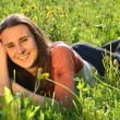 Beautiful attractive brunette girl is lying on a meadow  — Stock Photo