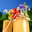 Jar full of delicious fresh honey, piece of honeycomb honey dipper and wild flowers in apiary against blue sky - 图库照片