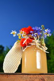 Jar full of delicious fresh honey, piece of honeycomb and wild flowers in apiary against blue sky — Stock Photo