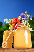 Jar full of delicious fresh honey, piece of honeycomb honey dipper and wild flowers in apiary against blue sky — Stock Photo