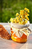 Jar full of delicious fresh honey piece of honeycomb and wild flowers in apiary — Stock Photo