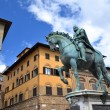 Stock Photo: Statue of Cosimo I de Medici on PiazzdellSignoriin Florence, Italy