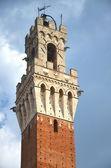 A torre do palazzo pubblico na praça del campo em siena, toscana, itália — Foto Stock