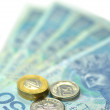 Zloty banknotes and coins from poland — Stock Photo