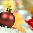 Christmas decoration, colored Christmas ball and bokeh background — Stock Photo