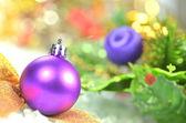 Christmas decoration, colored Christmas ball and bokeh background — Stock Photo