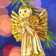 Christmas decoration, angel made of straw and bokeh background — Zdjęcie stockowe