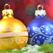 Christmas decoration, Christmas balls against bokeh background — Zdjęcie stockowe