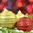 Christmas decoration, Christmas balls against bokeh background — Photo
