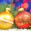 Christmas decoration, Christmas balls against bokeh background — ストック写真