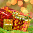 Christmas decoration, Christmas presents against bokeh background — Stock Photo