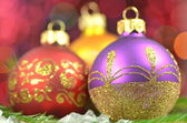 Christmas decoration, Christmas balls against bokeh background — Foto de Stock