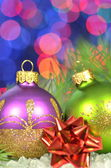 Christmas decoration, Christmas balls against bokeh background — Foto Stock