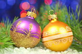 Christmas decoration, Christmas balls against bokeh background — Stock fotografie