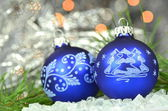 Christmas decoration, Christmas balls against bokeh background — Stock Photo