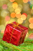Christmas decoration, Christmas present against bokeh background — Stock Photo