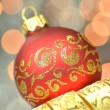Christmas decoration, Christmas ball against bokeh background — Stock Photo