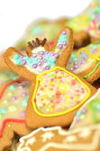 Delicious decorated Christmas cookies isolated on white background — 图库照片