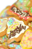 Delicious decorated Christmas cookies isolated on white background — Stock Photo