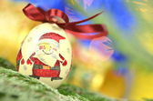 Christmas bauble made by decoupage technique on bokeh background — Stock Photo
