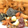 Stock Photo: Christmas spices, nuts and dried fruits isolated on white background