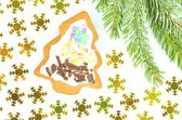 Delicious decorated Christmas cookie on white background — Foto de Stock
