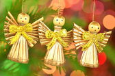 Christmas decoration, choir of angels against bokeh background — Stock Photo