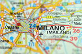 Milan in Italy on the map — Stock Photo