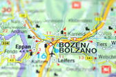 Bolzano in Italy on the map — Stock Photo