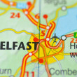 Stock Photo: Belfast in Northern Ireland on map