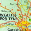 Stock Photo: Newcastle in England on map